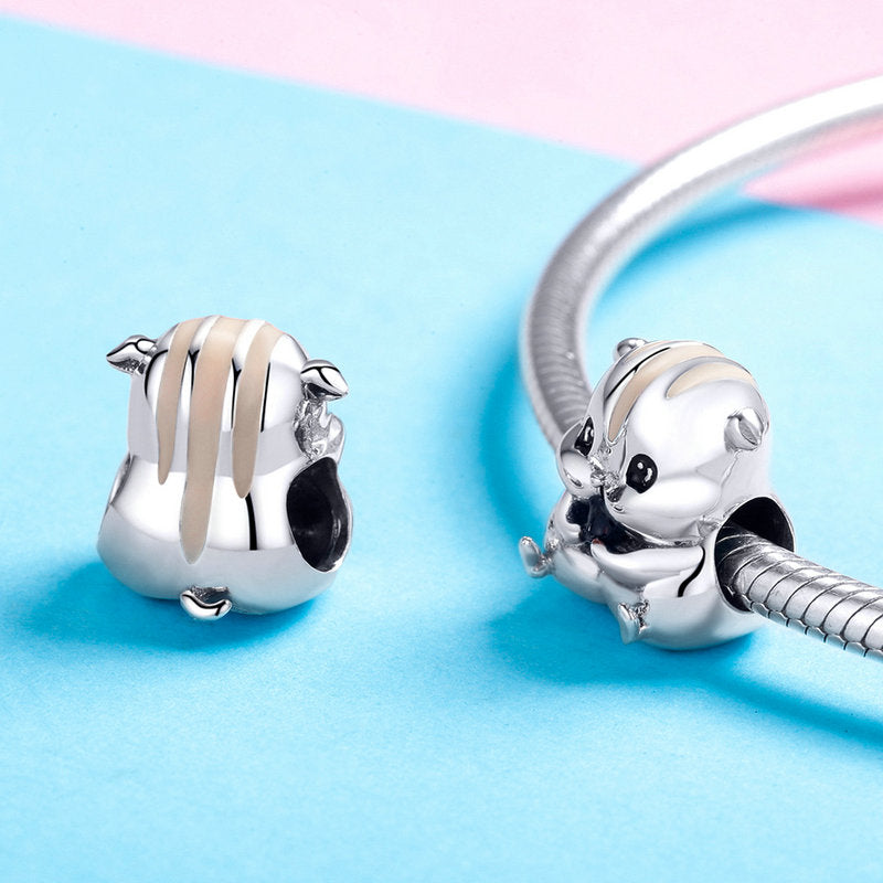 WOSTU Cute Animal Charm Hamster Beads Fit Original Bracelet Bangle Pendant For Women Jewelry Making SCC1133 - WOSTU