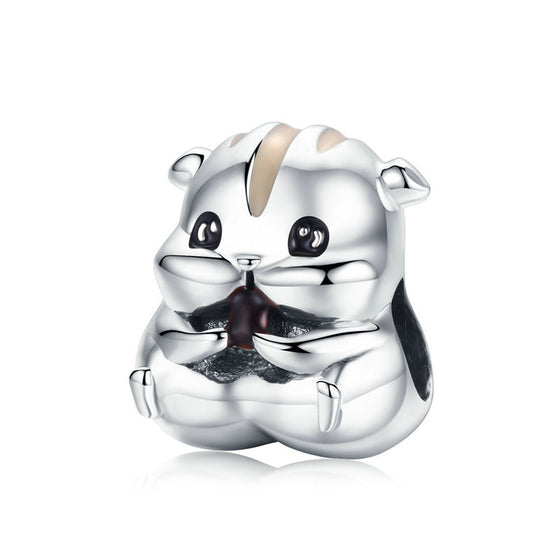 WOSTU Cute Animal Charm 925 Sterling Silver Hamster Beads Fit Original Bracelet Bangle Pendant For Women Jewelry Making SCC1133