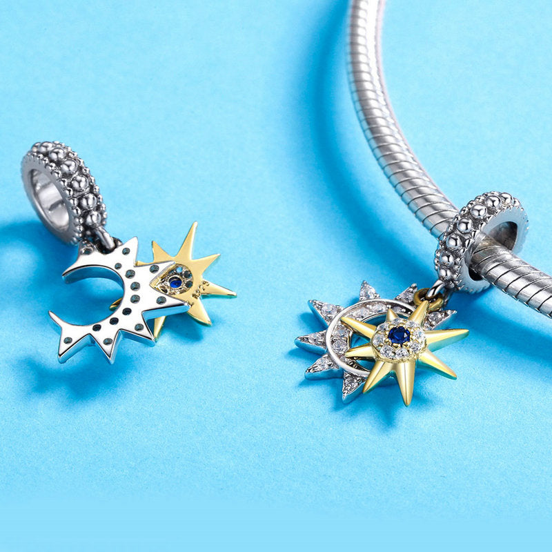 WOSTU  Moon Star & Gold Sun Charm AAA CZ Bead Fit Original Bracelet Pendant Lucky Charms DIY Jewelry SCC1135 - WOSTU
