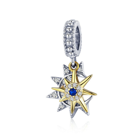 WOSTU  925 Sterling Silver Moon Star & Gold Sun Charm AAA CZ Bead Fit Original Bracelet Pendant Lucky Charms DIY Jewelry SCC1135 - WOSTU