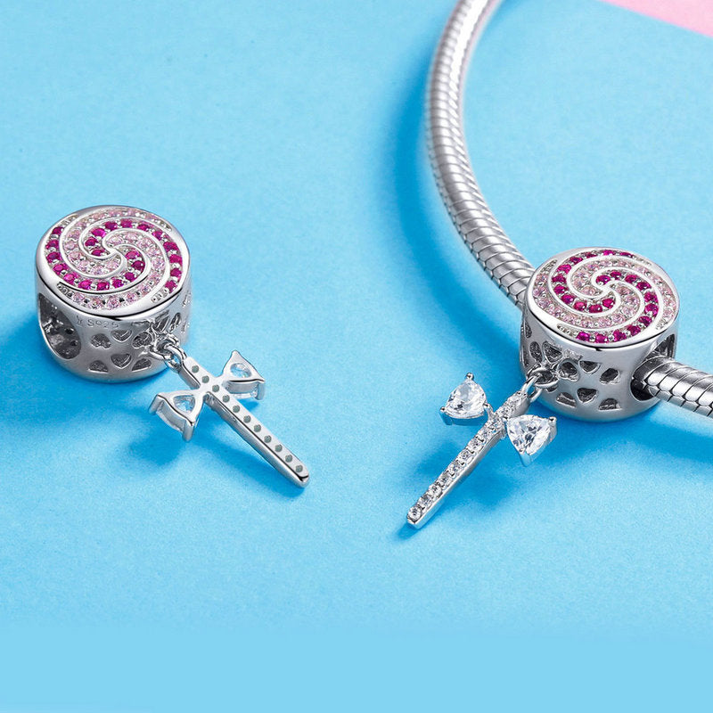 WOSTU Sweet Lollipop Candy Charms Pink CZ Bead Fit Original Bracelet Necklace Silver Jewelry Making SCC1136 - WOSTU