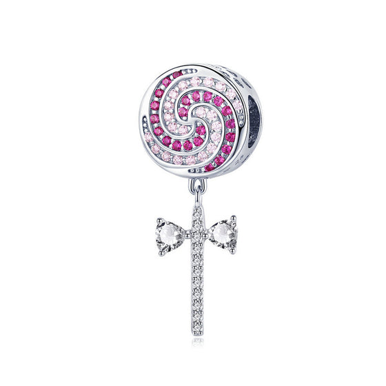WOSTU 925 Sterling Silver Sweet Lollipop Candy Charms Pink CZ Bead Fit Original Bracelet Necklace Silver Jewelry Making SCC1136