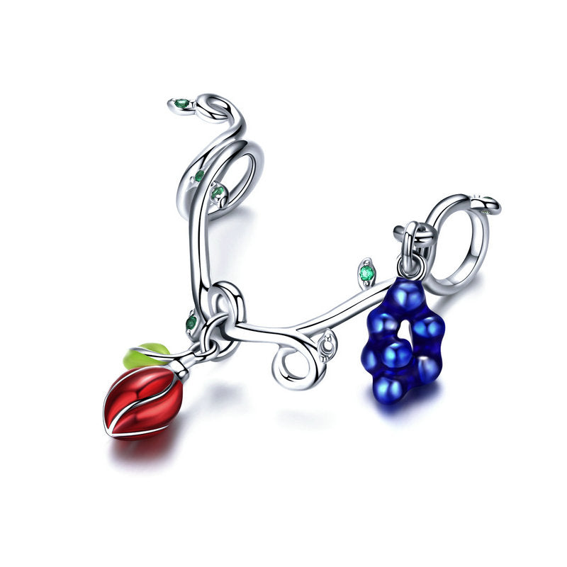WOSTU Spring Cherry & Grape Fruit Charms Bead Fit Original Bracelet Pendant DIY Jewelry Making SCC1138 - WOSTU