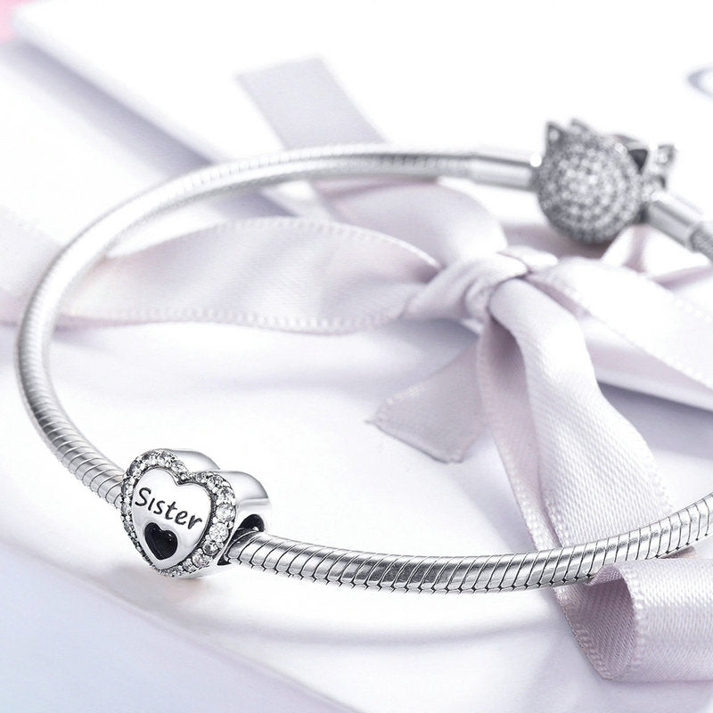 WOSTU Sister's Love Heart Bead Clear CZ Fit Original Bangle Charm DIY Bracelet Accessories Jewelry SCC1141 - WOSTU