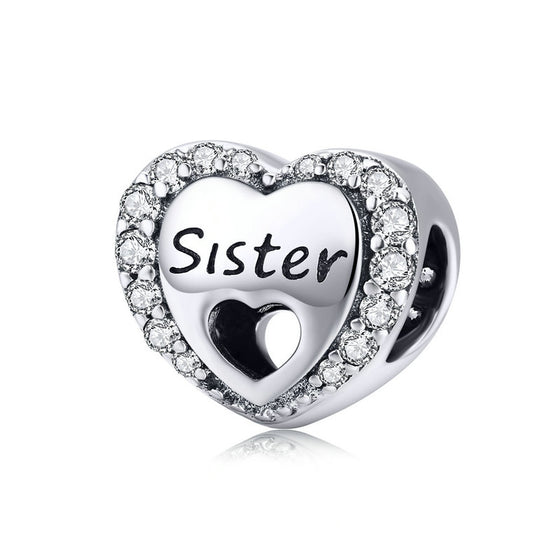 WOSTU 925 Sterling Silver Sister's Love Heart Bead Clear CZ Fit Original Bangle Charm DIY Bracelet Accessories Jewelry SCC1141 - WOSTU