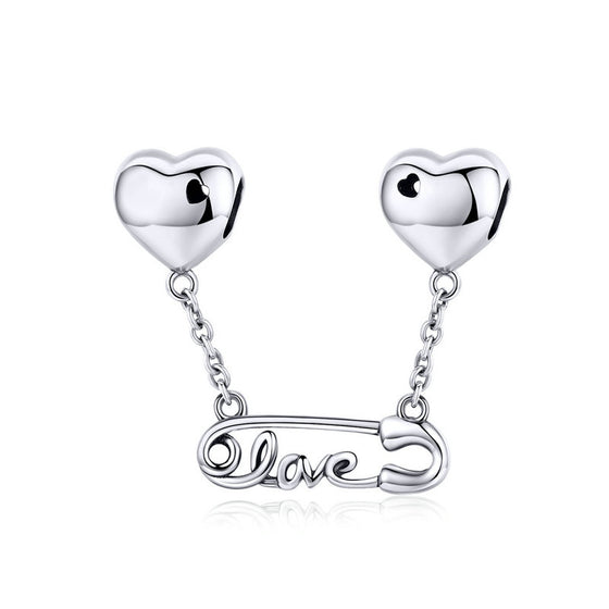WOSTU Original Design LOVE Clip Heart Dangle Charms 925 Sterling Silver Bead Fit Women Bracelet Jewelry Making Charms SCC1143 - WOSTU