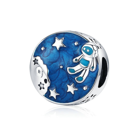 WOSTU Astronaut & Star Bead 925 Sterling Silver Midnight Blue Enamel Charms Fit Original Bracelet For Women DIY Jewelry SCC1148