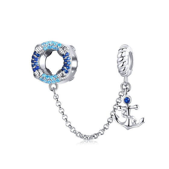 WOSTU 925 Sterling Silver Safety Chain Anchor Dangle Charm Blue CZ Beads Fit Original Bracelet Jewelry Making Charms SCC1149