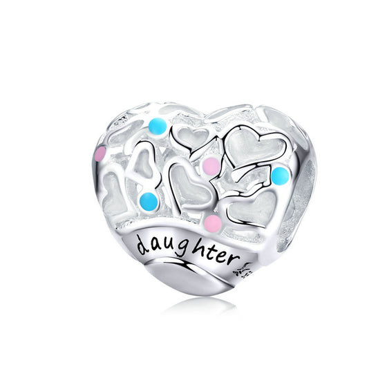 WOSTU 925 Sterling Silver Daughter's Love Beads Multi-Color Heart Charm Fit Original Bracelet Pendant 925 Silver Jewelry SCC1152 - WOSTU