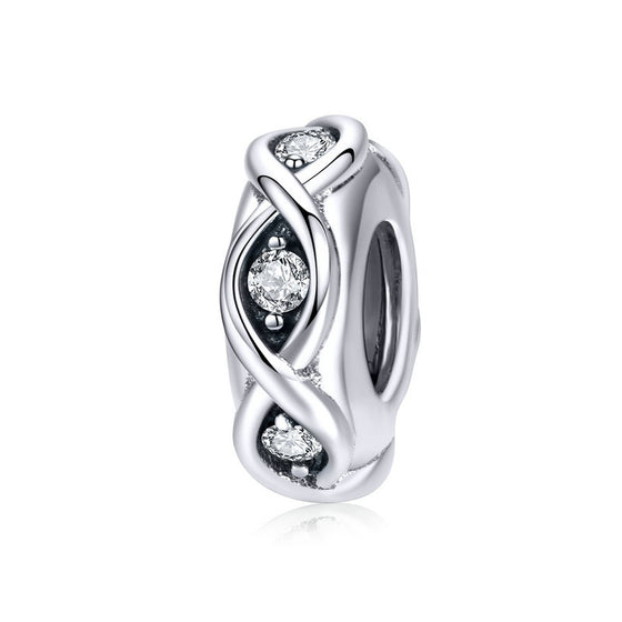 WOSTU 925 Sterling Silver Sparkling Infinity Clip Charm Clear CZ Beads Fit Original Bracelet Pendant Jewelry Accessories SCC1153