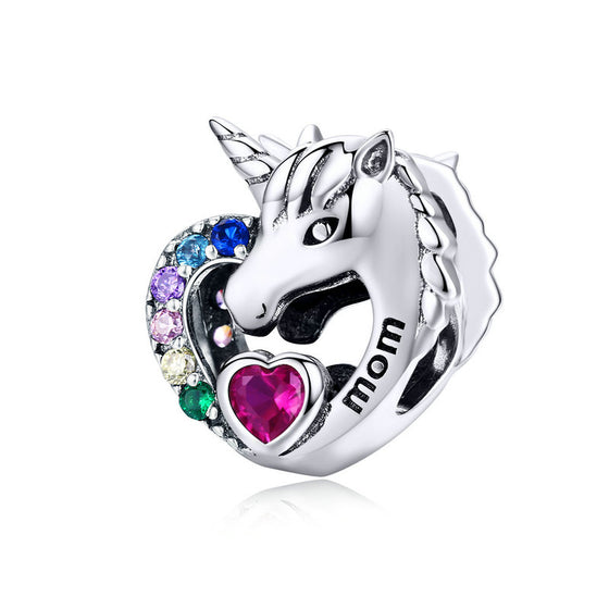 WOSTU 2019 Unicorn Mom Beads 925 Sterling Silver Multi-Color Heart Charms Fit Original Bracelet Charm For Making Jewelry SCC1160