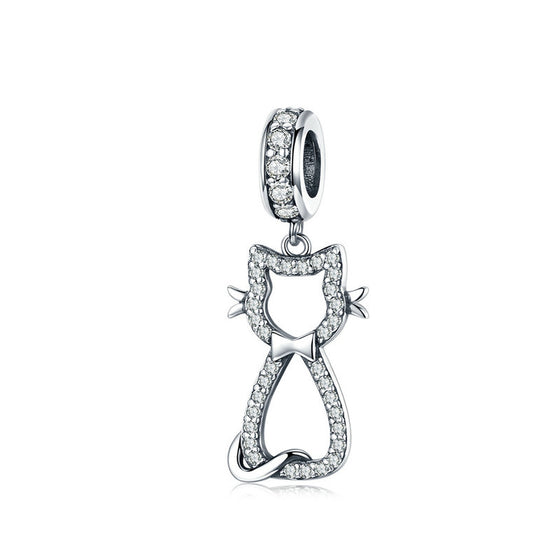 WOSTU Sweet Cat Animal Dangle Charm Zircon Beads Fit Original DIY Bracelet Silver 925 Jewelry Making SCC1162 - WOSTU