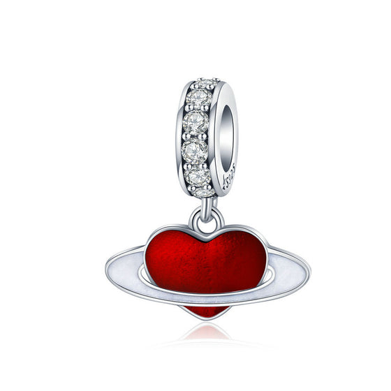 WOSTU Heart Planet Dangle Charm 925 Sterling Silver Red Enamel CZ Beads Fit Original Bracelet Charms For Jewelry Making SCC1165