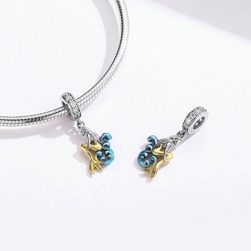 WOSTU Elegance Mermaid Dangle Charm 925 Sterling Silver Mixed Enamel CZ Beads Fit Original Bracelet DIY Jewelry Making SCC1166