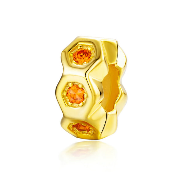 WOSTU Honeycomb Bee Gold Beads 925 Sterling Silver Crystal Bead Fit Original Charm DIY Bracelet Pendant Jewelry Making SCC1170 - WOSTU