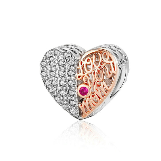 WOSTU Love You Mom Heart Beads 925 Sterling Silver & Rose Gold Family Bead Fit Original Bracelet Charm Jewelry Making SCC1173