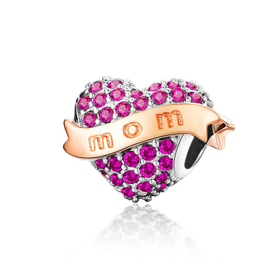 WOSTU Family Mom Heart Beads 925 Sterling Silver Pink Stone Fit Original Bracelet Pendant Charm Beads For Jewelry Making SCC1174