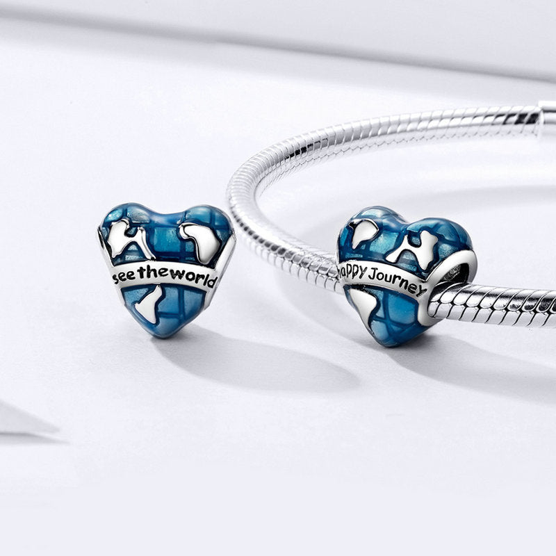WOSTU Happy Journey Heart Blue Enamel Beads Fit Original Charm DIY Bracelet Pendant Jewelry Making SCC1176 - WOSTU