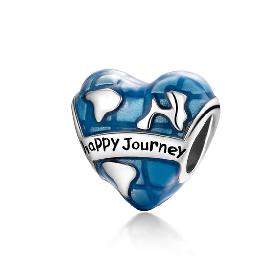 WOSTU Happy Journey Heart Blue Enamel Beads 925 Sterling Silver Fit Original Charm DIY Bracelet Pendant Jewelry Making SCC1176 - WOSTU