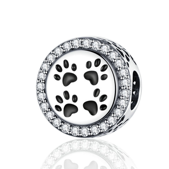 WOSTU Dog Paw Trail Footprints Beads Charm Fit Original Bracelet Pendant Beads For Jewelry Making SCC1186 - WOSTU