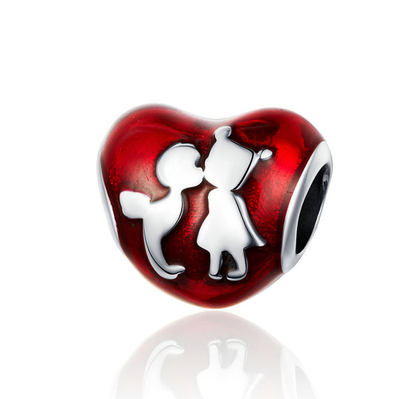 WOSTU Childhood Friendship Heart Beads 925 Sterling Silver Red Charm Fit Original DIY Bracelet Pendant Jewelry Making SCC1187 - WOSTU