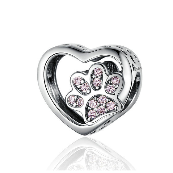 WOSTU Luxury Heart Dog Paw Beads Pink Enamel Charm Fit Original Bracelet Pendant Silver 925 Jewelry SCC1191 - WOSTU