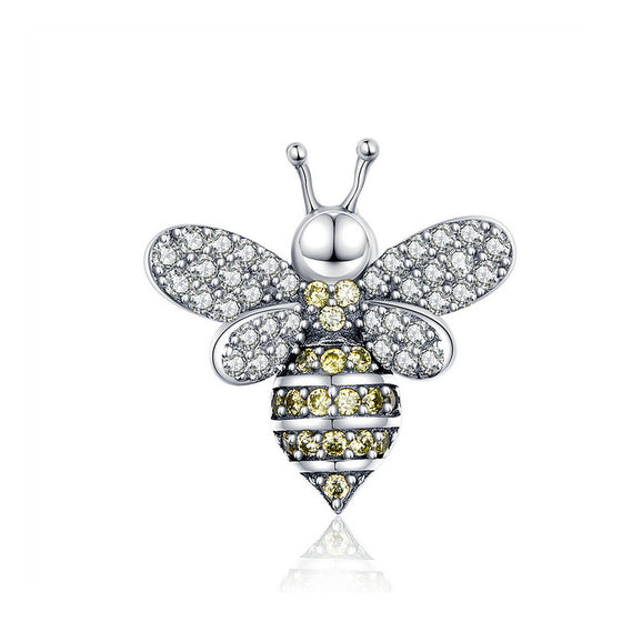 WOSTU Queen Bee Beads Charm With Silicon Fit Original Bracelet Pendant Wedding DIY Jewelry Making SCC1194 - WOSTU