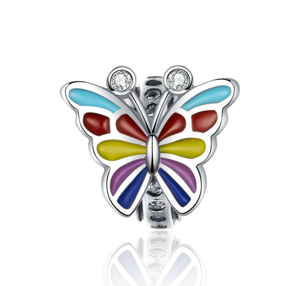 WOSTU Decorative Butterfly Beads Multi-Color Enamel Silicon Charm Fit Original Bracelet DIY Jewelry SCC1195 - WOSTU