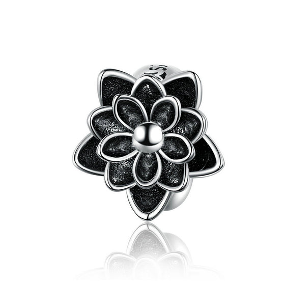 WOSTU Classic Lotus Flower Beads 925 Sterling Silver Black Enamel Fit Original DIY Bracelet Silicon Charm Jewelry SCC1196 - WOSTU