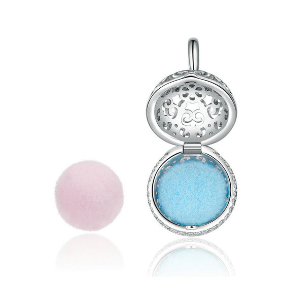 WOSTU Perfume Box With Pink Blue Ball Openwork Dangle Charms Fit Original Bracelet Pendant Jewelry SCC1198 - WOSTU