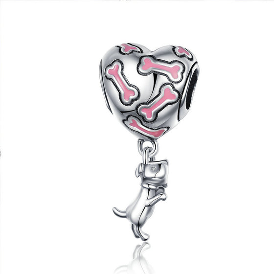 WOSTU Buddy Dog Bone Heart Dangle Charm 100% 925 Sterling Silver Beads Fit Original Bracelet Necklace Silver 925 Jewelry SCC1199