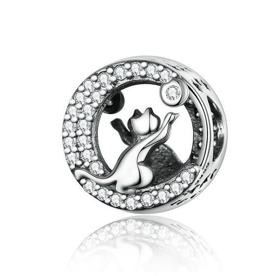 WOSTU Curious Cat Beads 925 Sterling Silver Animal Charm Fit Original Bracelet Pendant Jewelry Making Beads Accessories SCC1203 - WOSTU