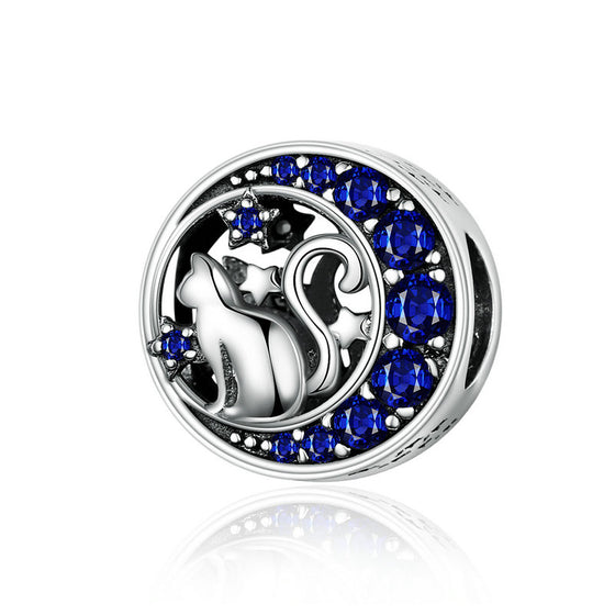 WOSTU Moon & Star Cute Cat Beads Blue Enamel Charm Fit Original DIY Bracelet Pendant Jewelry Making SCC1204 - WOSTU