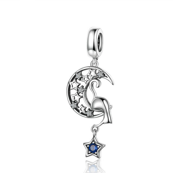 WOSTU Moon & Stars Floating Dangle Charm 925 Sterling Silver Zircon Beads Fit Original Bracelet Pendant Jewelry Making SCC1205