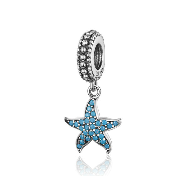 WOSTU Oceanic Starfish Floating Dangle Charm 925 Sterling Silver Blue CZ Beads Fit Original Bracelet Pendant DIY Jewelry SCC1210