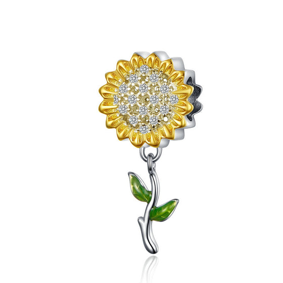 WOSTU Sunflower Charm 925 Sterling Silver Yellow Enamel  Beads Fit Original Bracelet Pendant Charms For Jewelry Making SCC1211