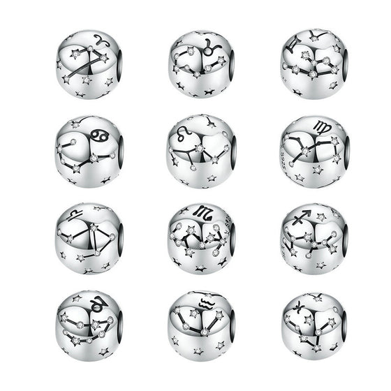 WOSTU 12 Constellation Aries Beads 925 Sterling Silver CZ Charm Fit Original DIY Bracelet Beads For Jewelry Making SCC1218