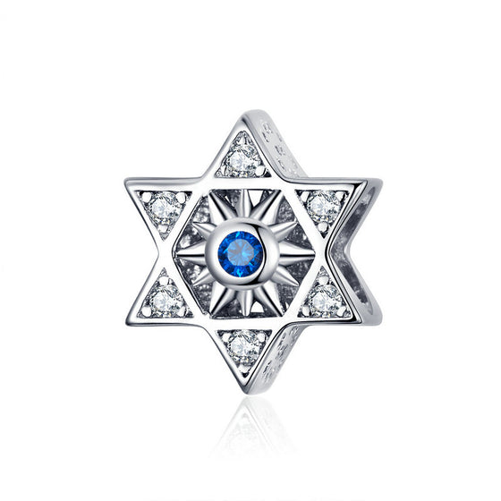 WOSTU European Blue Star Beads 925 Sterling Silver Zircon Enamel Charm Fit Original Bracelet Pendant DIY Jewelry Making SCC1222 - WOSTU