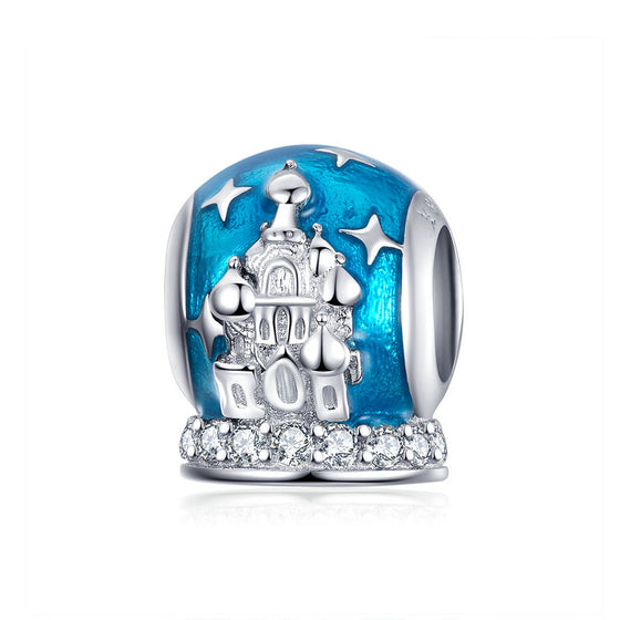 WOSTU Castle Beads 100% 925 Sterling Silver Blue Enamel Charm Fit Original Bracelet Pendant Wedding Luxury Jewelry Gifts SCC1225 - WOSTU