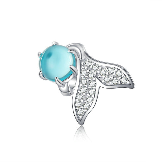 WOSTU Mermaid Tear Beads 925 Sterling Silver Blue Crystal Enamel Charm Fit Original Bracelet Pendant Wedding Jewelry SCC1226 - WOSTU