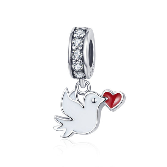 WOSTU Love Letter Pigeon Dangle Charm Heart Beads Fit Original Bracelet Pendant Silver 925 Jewelry SCC1227 - WOSTU