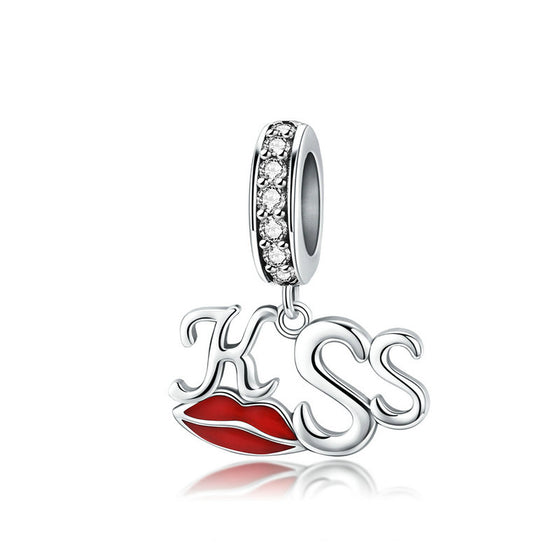 WOSTU KISS Lips Dangle Charm Zircon Beads Fit Original Bracelet Pendant Silver 925 Jewelry Gift SCC1237 - WOSTU