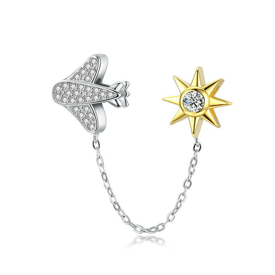 WOSTU High Quality 925 Sterling Silver Fly to Star Charm Dangle Fit Original Bracelet Beads Brand Fashion Jewelry Gift SCC1243 - WOSTU