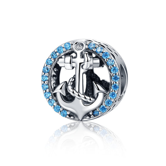 BLUE CUBIC ZIRCON SILVER ANCHOR CHARM BEADS