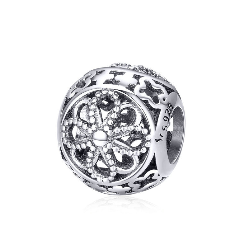 WOSTU Real 925 Sterling Silver Vintage Flowers Openwork Bead Charms fit Original DIY Bracelet Bangle Jewelry Gift SCC899 - WOSTU