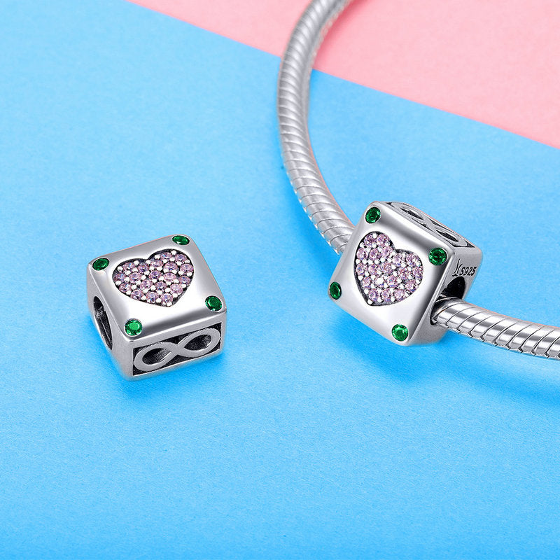 WOSTU Real 925 Sterling Silver Square Shining infinite Heart Charms Bead fit Original DIY Bracelet Fashion Jewelry Gift SCC900