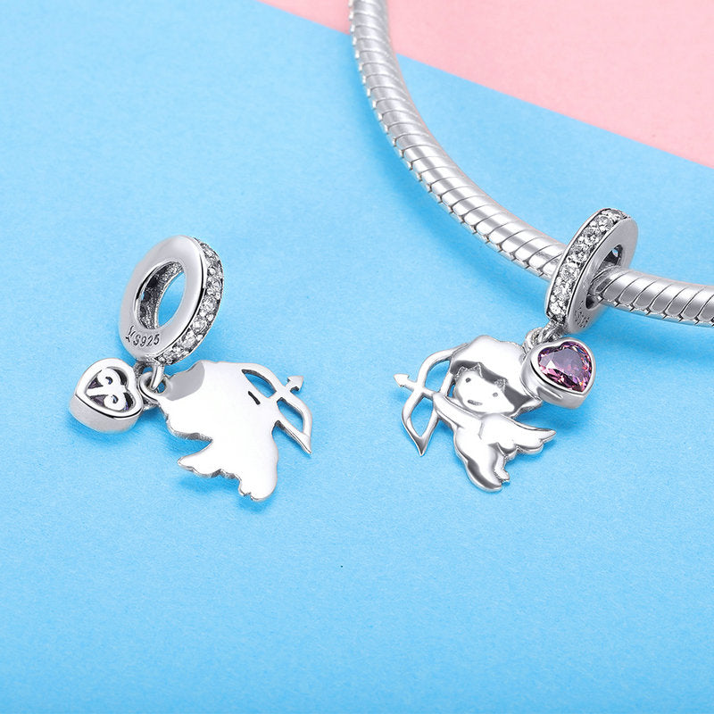 WOSTU 925 Sterling Silver The Cupid Heart Love Dangle Charms fit Original DIY Bracelet Pendant Jewelry Grilfriend Gift SCC903 - WOSTU