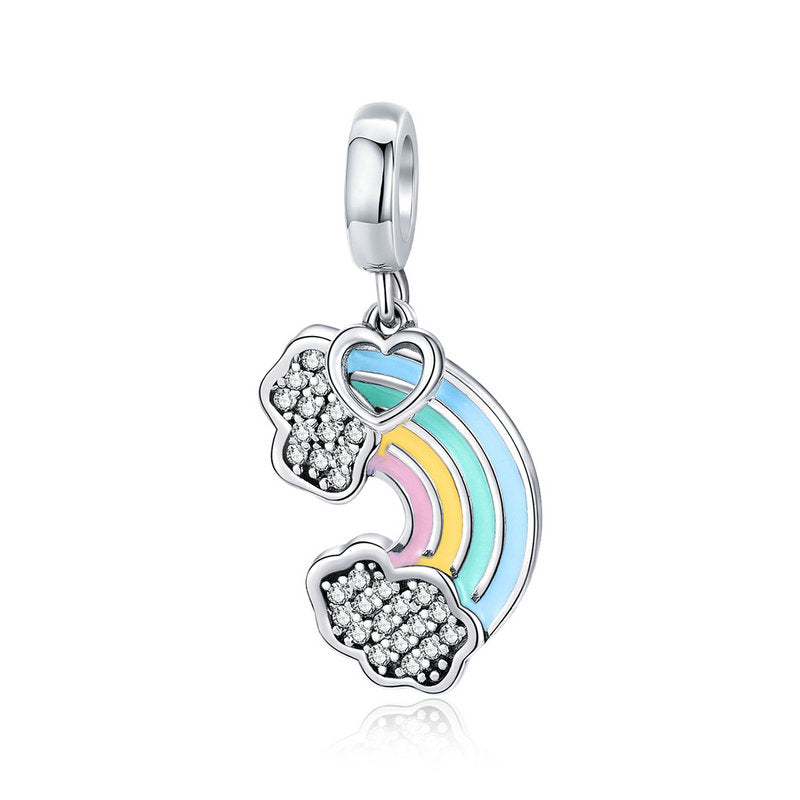 WOSTU 925 Sterling Silver Rainbow of Love Dangle Charms fit Original DIY Bracelet Pendant Jewelry Grilfriend Gift SCC905