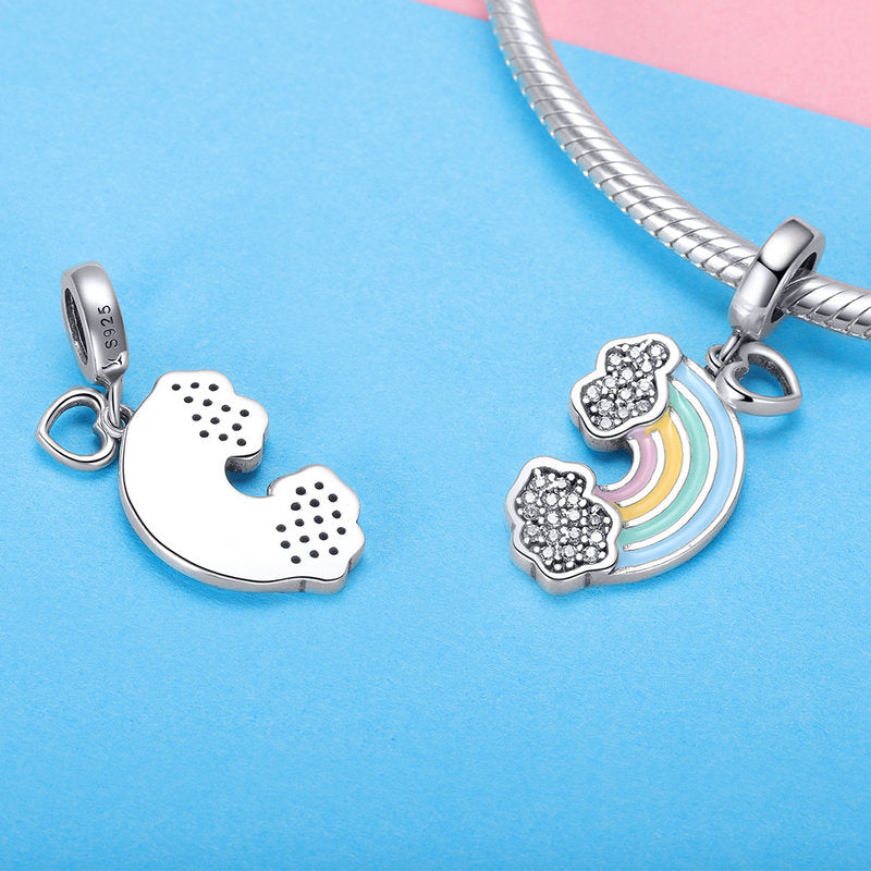 WOSTU 925 Sterling Silver Rainbow of Love Dangle Charms fit Original DIY Bracelet Pendant Jewelry Grilfriend Gift SCC905 - WOSTU