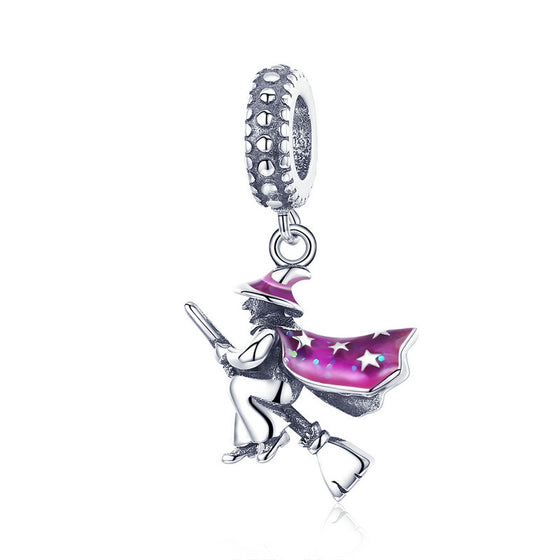 WOSTU High Quality 925 Sterling Silver Magic Witch Dangle Charms fit Original DIY Bracelet Necklace S925 Jewelry Gift SCC914